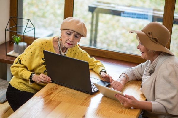 Elderly women using laptop