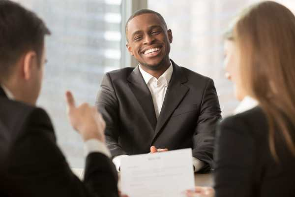 Confident man in interview