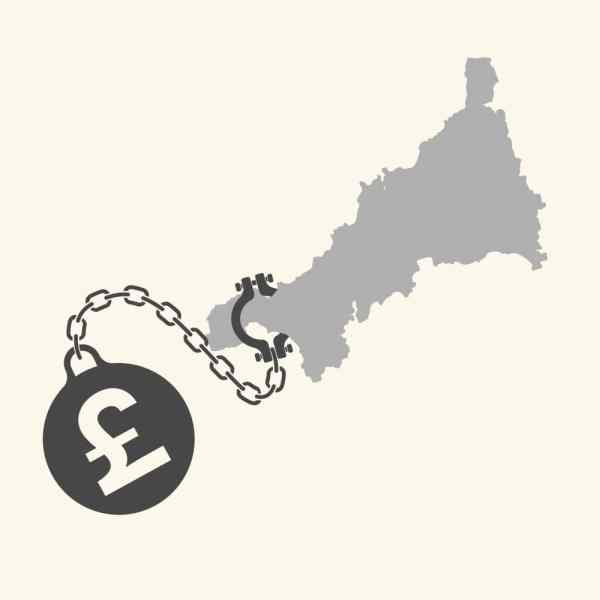 Cornwall debt ball and chain graphic
