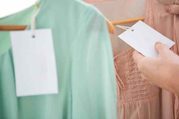 Blank price tags on clothes