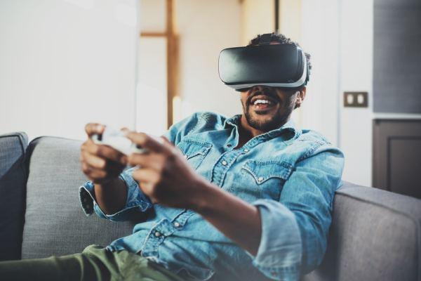 Man playing VR video game