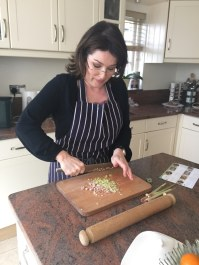 sarah chopping lemongrass