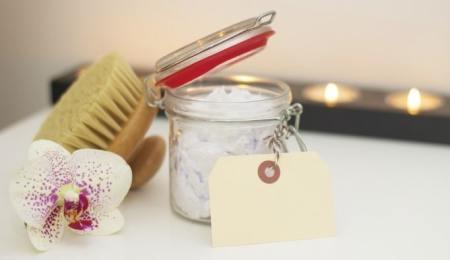 Homemade bath salts jar