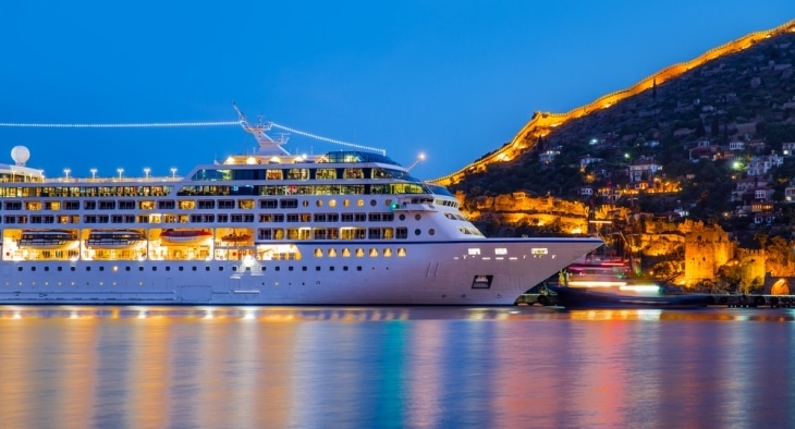 Cruise ship in port at sunset