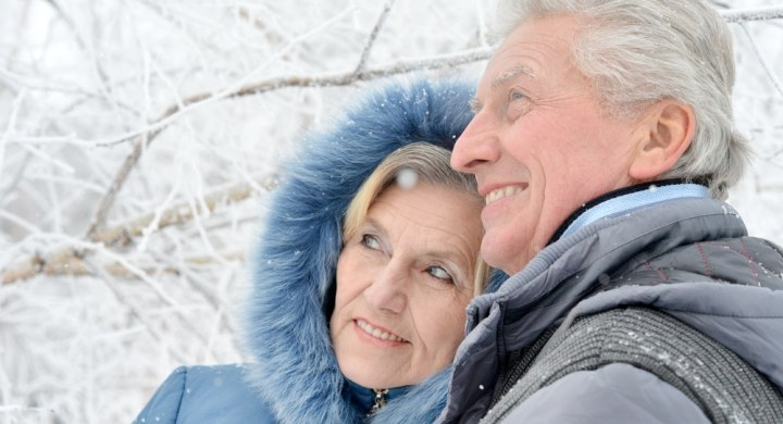 Older couple in snow