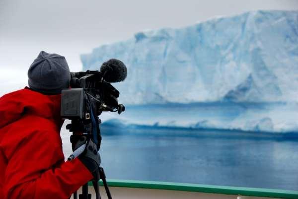 Man making nature documentary