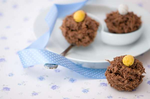 Chocolate covered shredded wheat nests