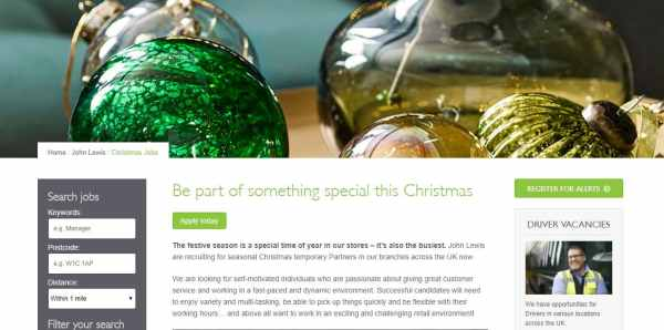 John Lewis Christmas Job Website