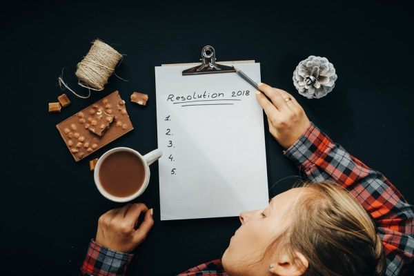 Woman trying to think of new years resolutions