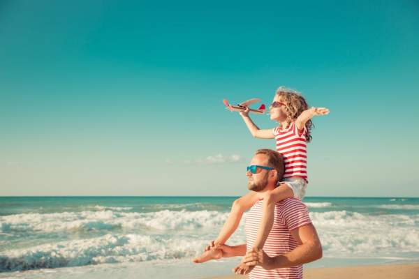 Father and daughter on holiday