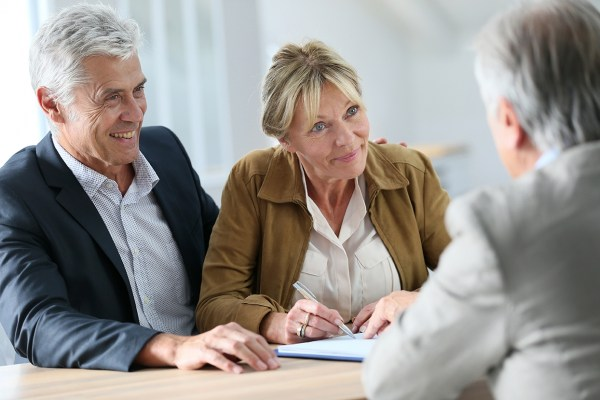 Senior couple meeting with a finance expert