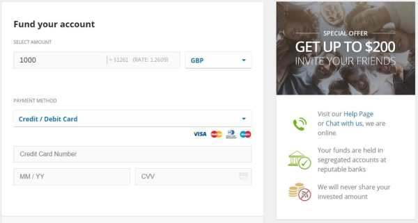 eToro website - fund your account page