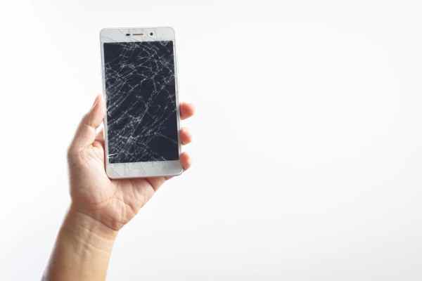 Mobile phone with smashed screen