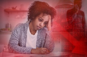 Stressed woman worrying about finances