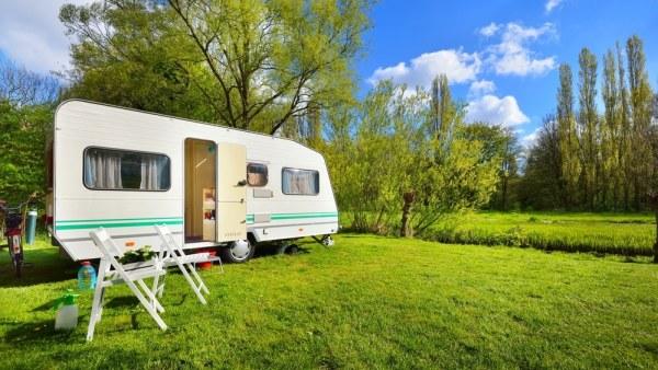 Caravan set up in a field