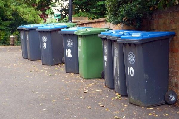 Green and blue wheelie bins
