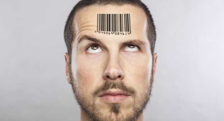 Man with barcode on his head