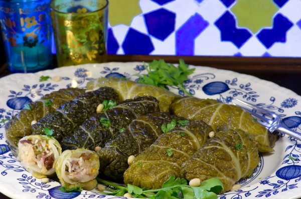 Cabbage leaves stuffed with pines nuts and rasins