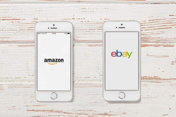 Amazon and eBay apps on smartphones