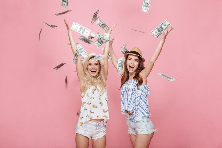 Women wish cash raining down on them