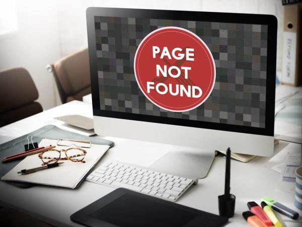Page not found web-page on computer screen
