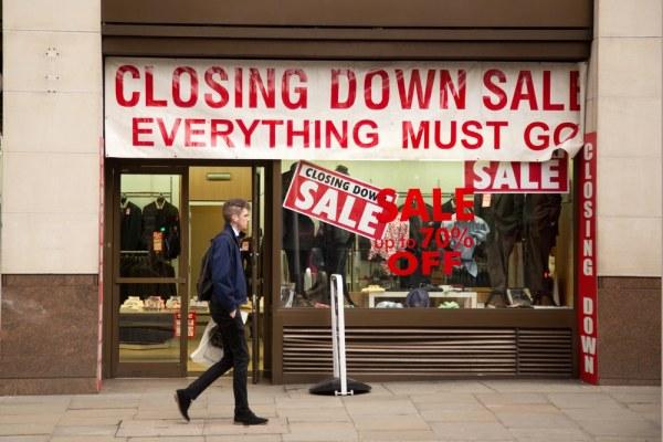 Closing down sale in high street shop