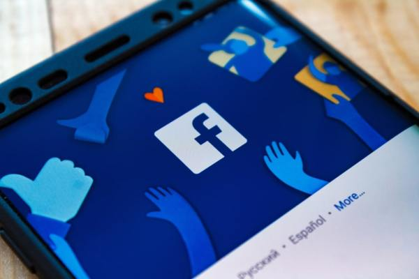Facebook graphic on smartphone