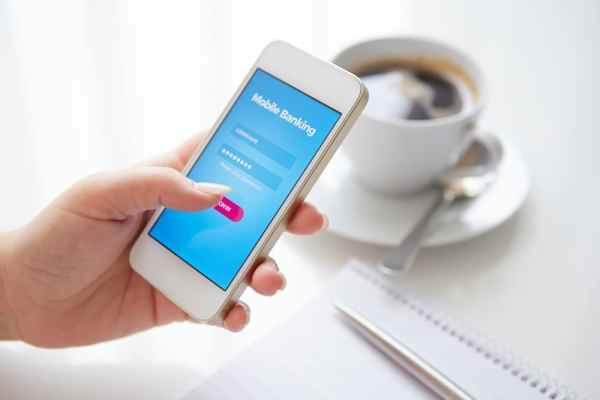 Online banking app on smartphone