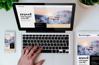 Travel websites on phone, laptop, tablet