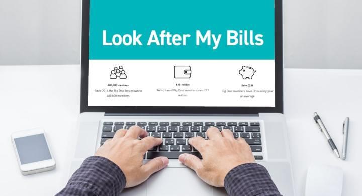 Look After My Bills Website on Laptop