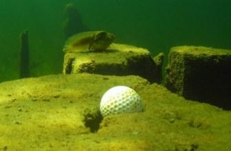 golf ball in lake