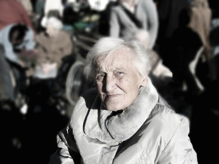 old woman thinking about pension