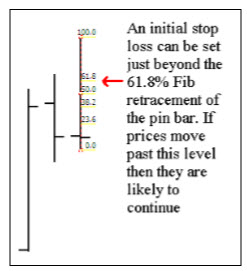 stop loss settiong for pin bars