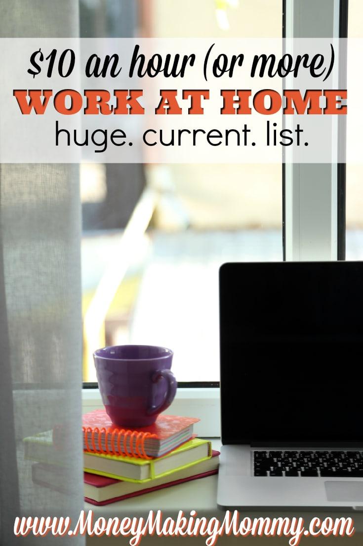 $10 an Hour Work at Home Jobs List