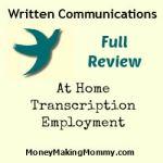 Written Communications – Work at Home Transcription Employment