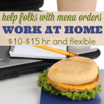 Help Folks with Menu Orders at Home $10-$15 hour