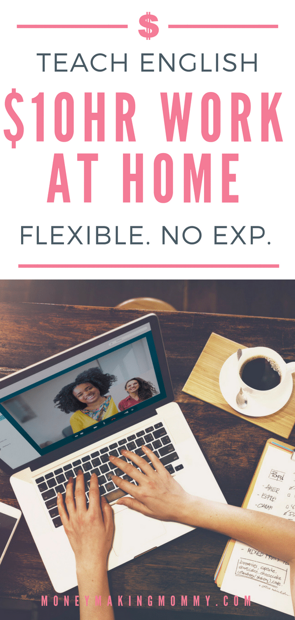 Work from home and earn $10 an hour teaching conversational English. Flexible schedule and no experience needed! Learn more. - MoneyMakingMommy.com - https://www.moneymakingmommy.com/flexible-online-tutoring-work/ #extraincomeideas #teachonline #teachenglishonline
