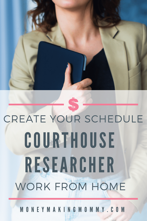 Become a courthouse researcher and work from home. Though some travel is involved, it's flexible and lets you be in charge of your own schedule. Learn more! -MoneyMakingMommy.com - https://www.moneymakingmommy.com/home-court-researcher-work-sunlark/ #extraincomeideas #workfromhomeideas