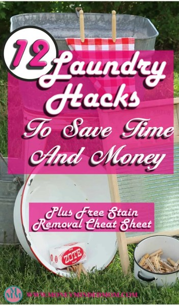12 Laundry Hacks to Save Time & Money ~ Laundry is a chore nobody likes to do, there are some hacks that you can do to save time, money and make it a bit easier. I've put together a list of 12 laundry hacks that will help you do just that. Plus a free stain removal cheat sheet.
