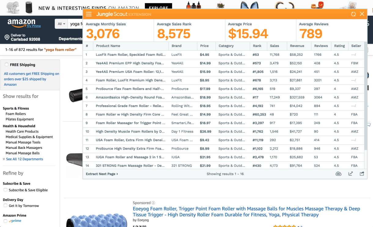 screenshot showing the Jungle Scout Chrome Extension in use for the term yoga rollers.