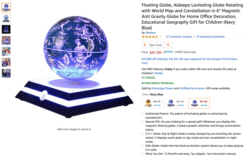 Blue levitating globe that is sold an Amazon for $91.99