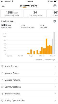 Seller App Showing $1200 in sales