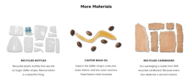Picture showing the materials that Allbirds uses, such as plastic, beans and recycled cardboard
