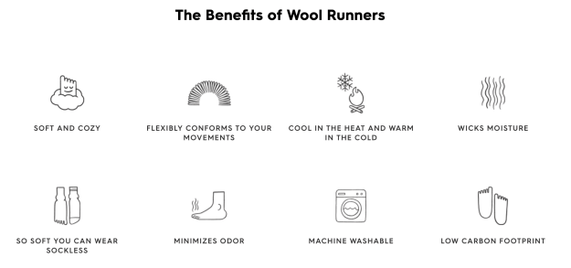 A chart showing the benefits of the Allbirds Wool Runner shoes