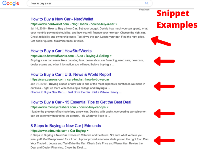 Snippet Examples For SEO