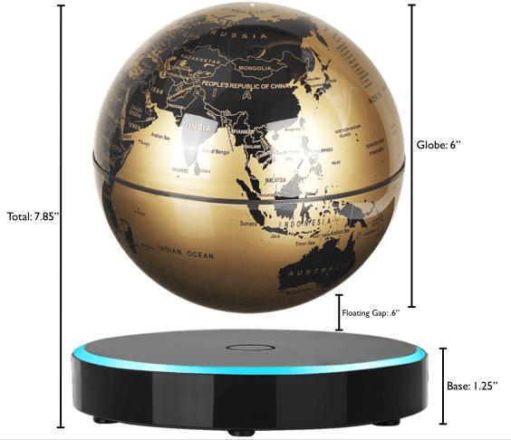 Gold Levitating Globe sold on Amazon