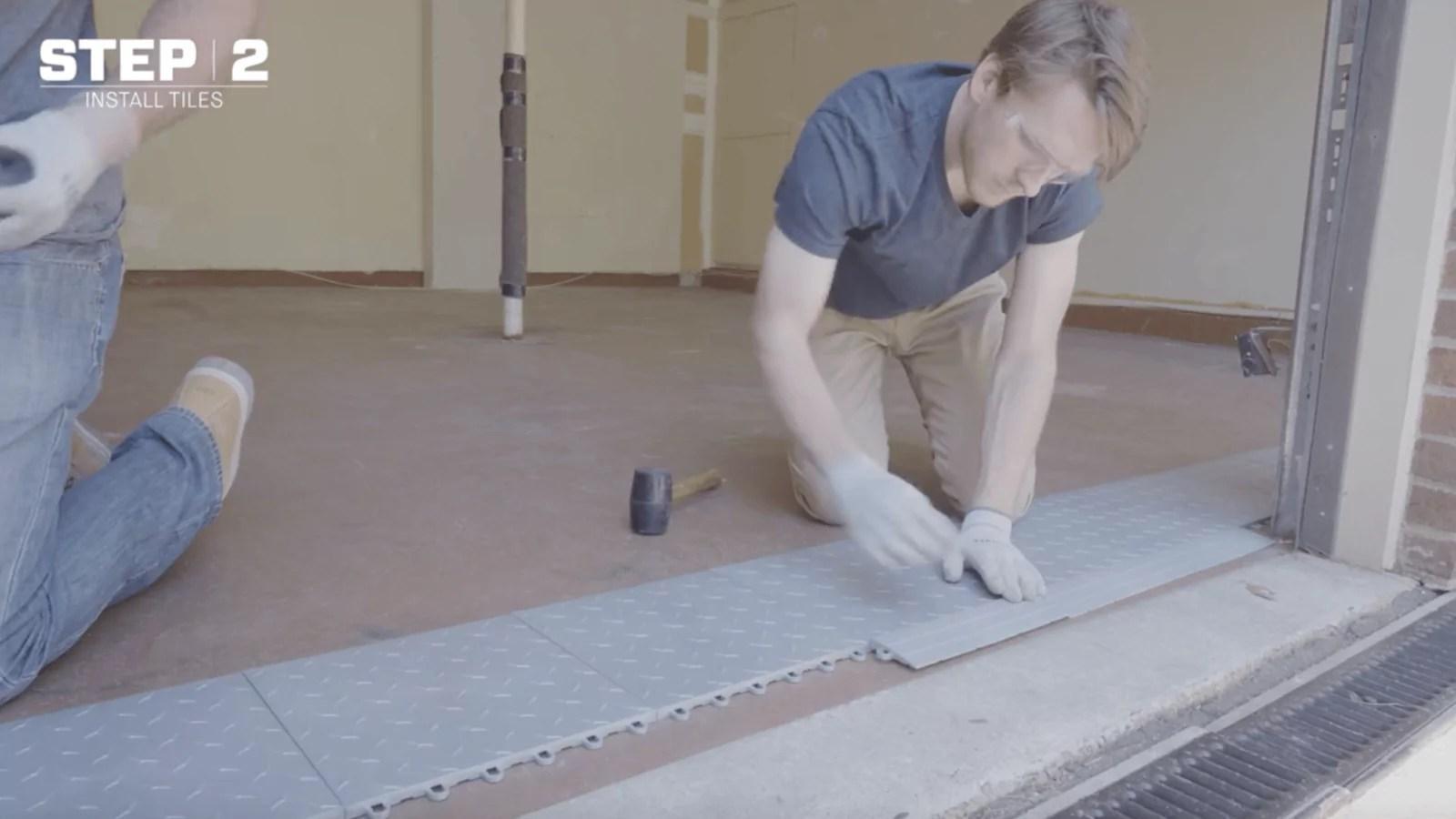 how to tile a garage floor video