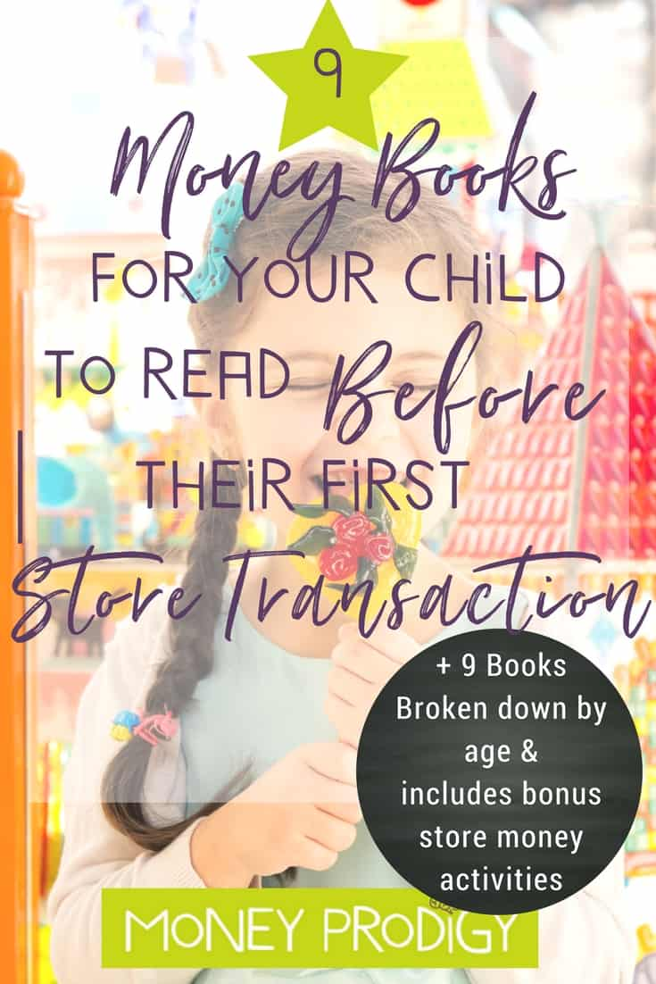 Move on from pretend store play + cash register games for kids. Use these 9 books & the bonus store money activities to help your child make their first store transaction! How exciting. |  http://www.moneyprodigy.com/9-money-books-read-kid-ready-first-store-transaction/