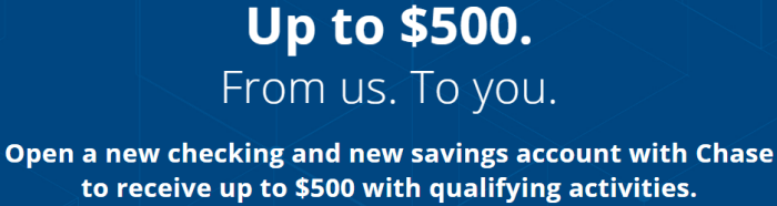 Chase $500 Total Checking And Savings Coupon