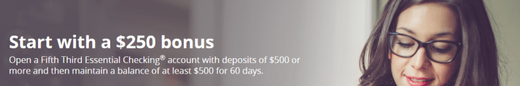 Fifth Third Bank $250 Checking Bonus Q2 2018